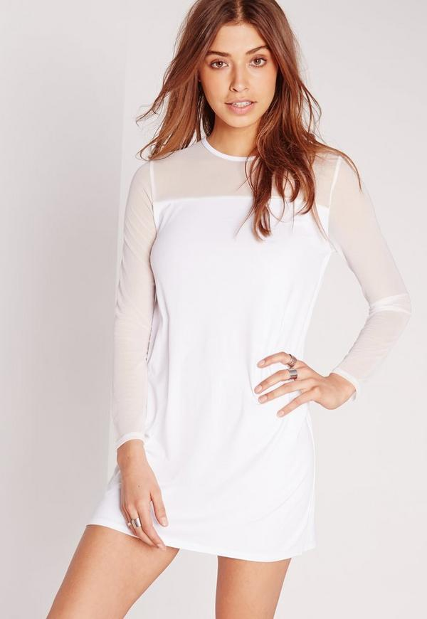 Mesh Sleeve T-Shirt Dress White