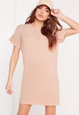 Beżowa sukienka typu T-shirt z siatką