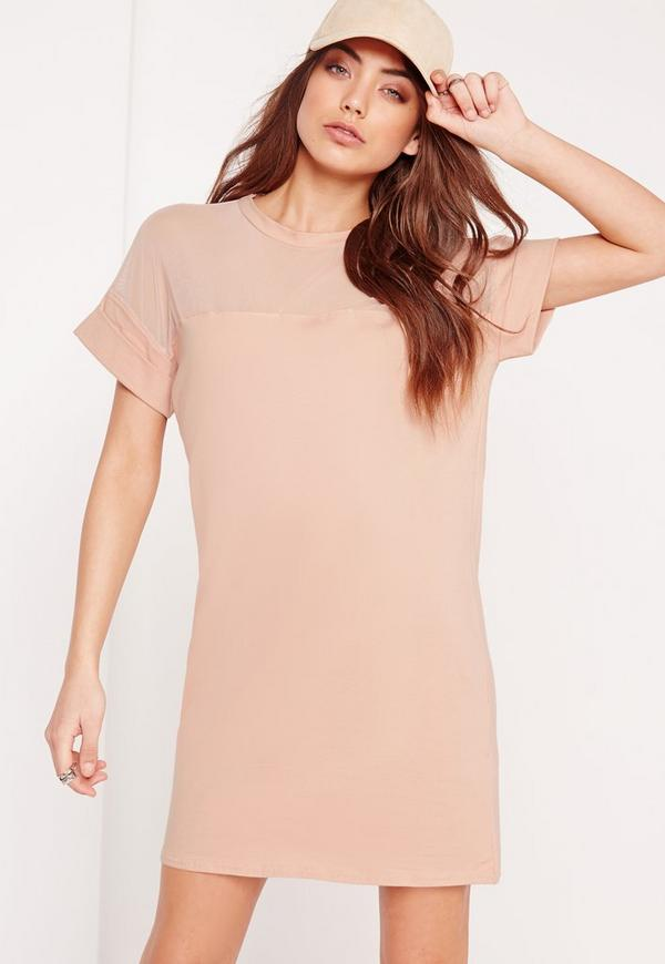 Mesh Panel T-Shirt Dress Nude