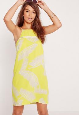 Palm Print Swing Dress Yellow