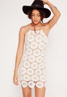 Strappy Daisy Flower Mini Bodycon Dress White