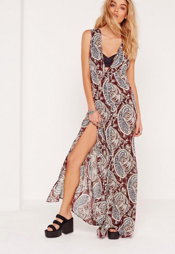 Printed Paisley Print Button Up Maxi Multi