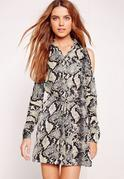 Cold Shoulder Snake Print Shirt Dress Multi
