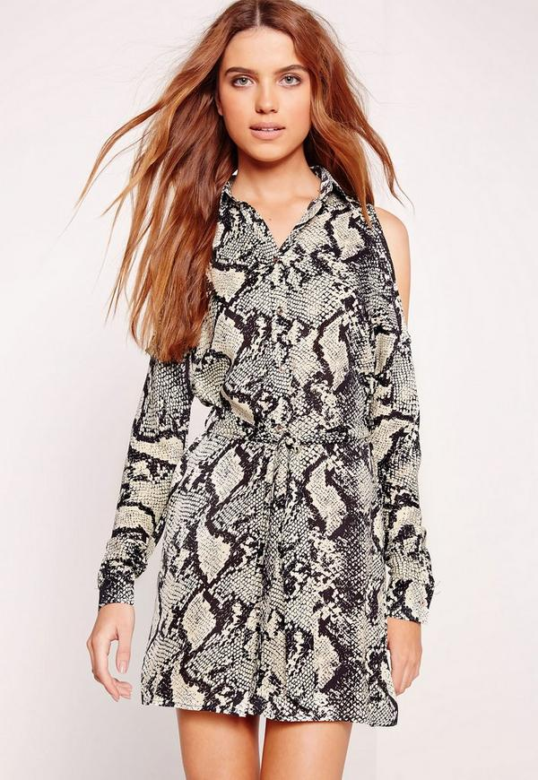 Cold Shoulder Snake Print Shirt Dress Multi | Missguided