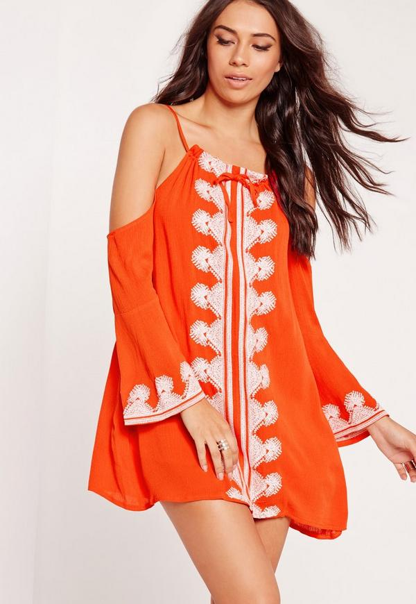 Cold Shoulder Embroidered Swing Dress Orange