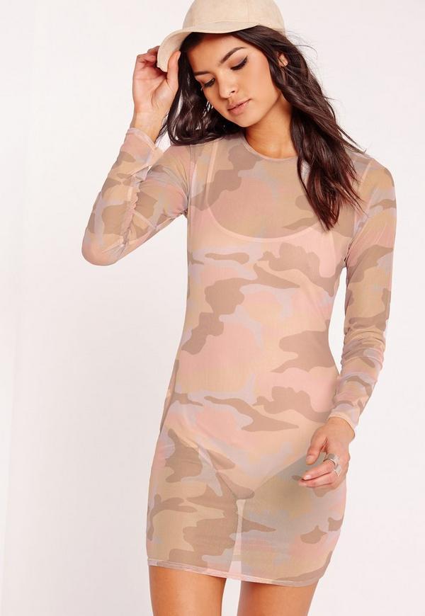 Camo Mesh Long Sleeve Bodycon Dress Nude