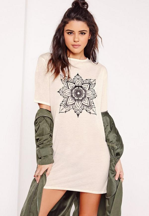 Mandala Print T-Shirt Dress Nude