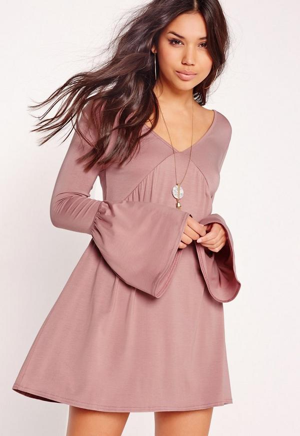 Bell Sleeve Skater Dress Pink