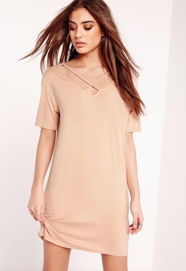 Harness T-Shirt Dress Nude