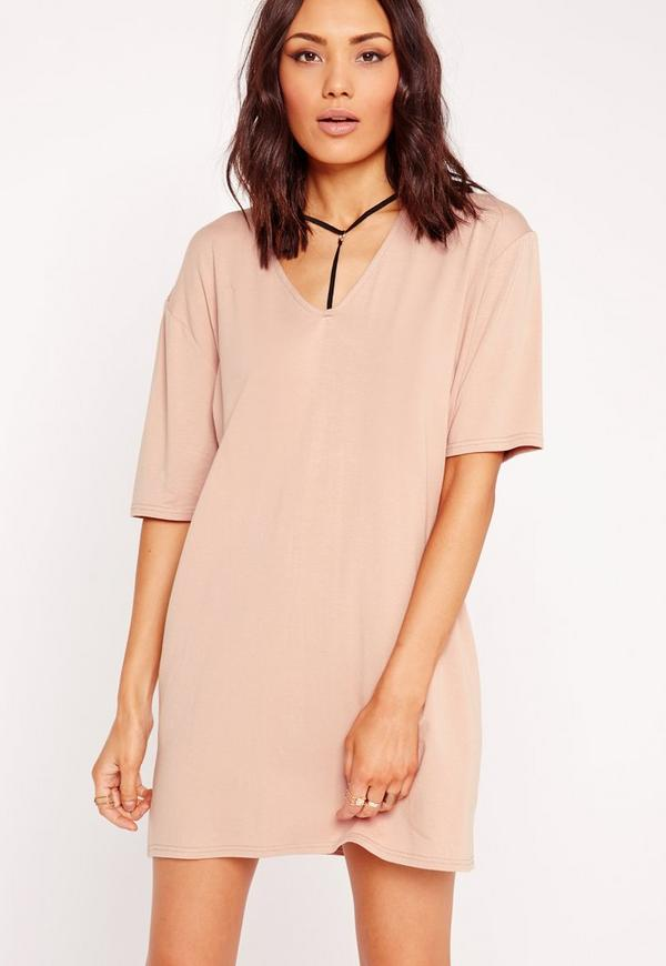 Harness Detail T-Shirt Dress Nude