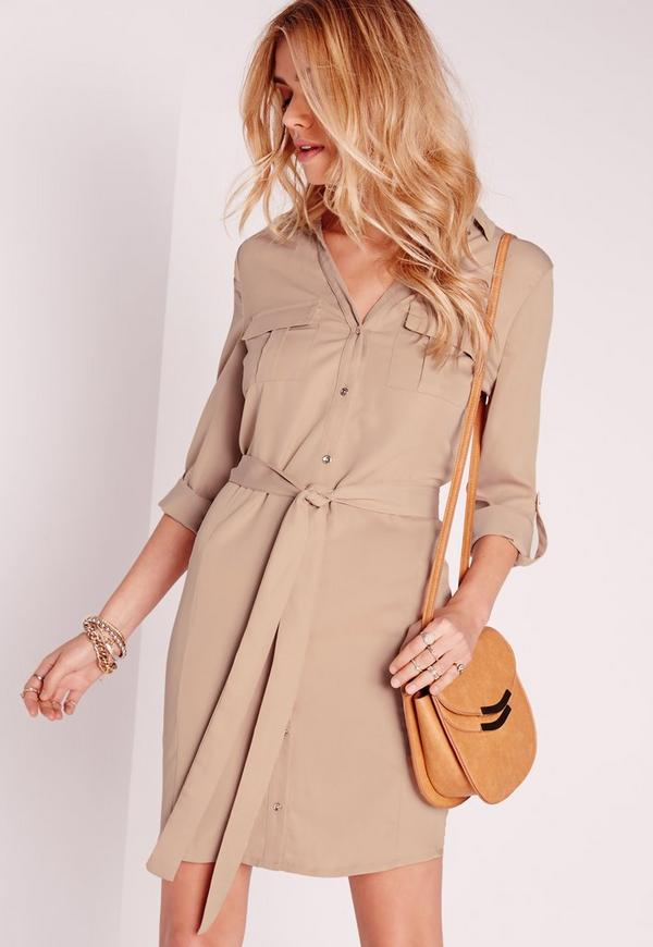 Tie Waist Shirt Dress Nude