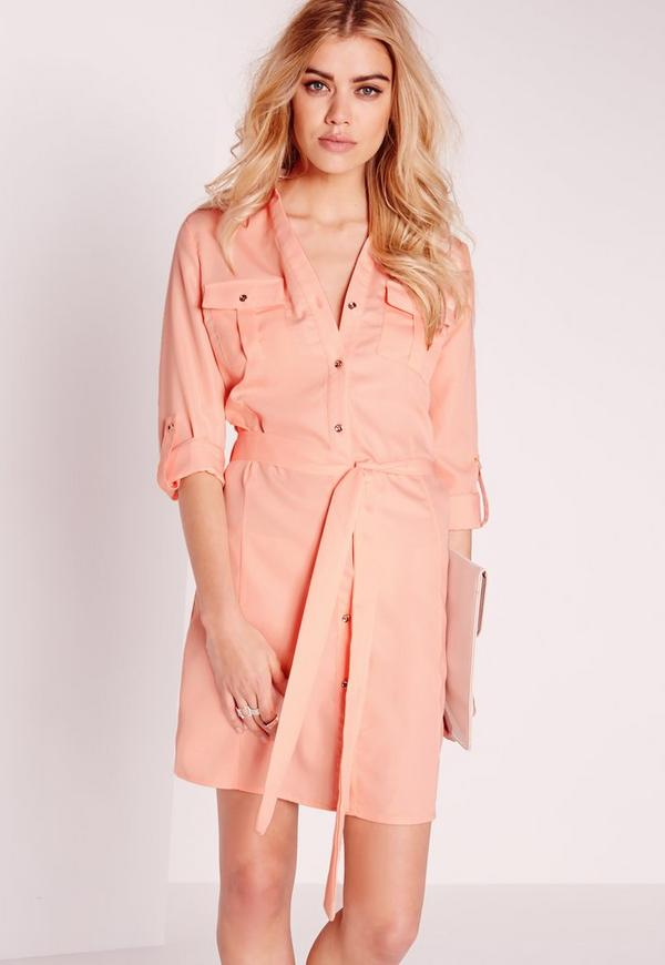 Tie Waist Shirt Dress Pink