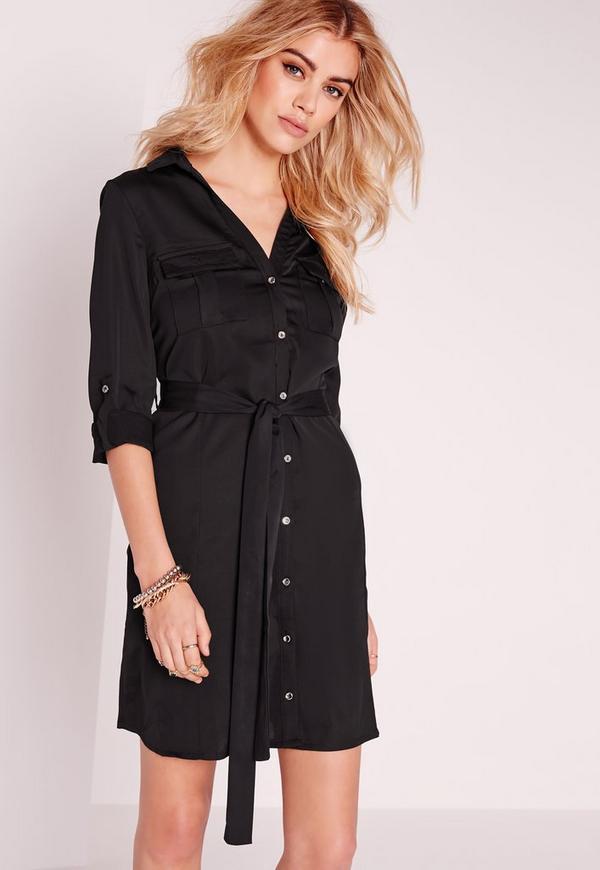 Tie Waist Shirt Dress Black