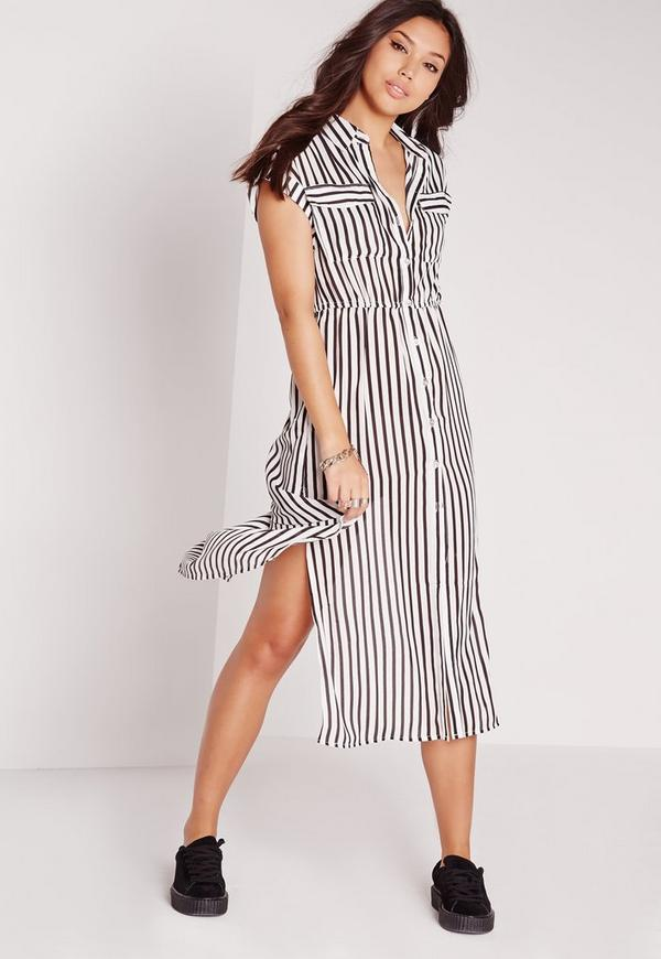 Short Sleeve Striped Maxi Shirt Dress Monochrome | Missguided
