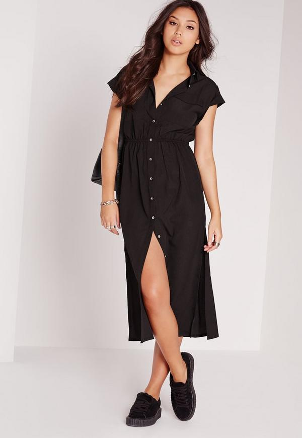 Short Sleeve Maxi Shirt Dress Black