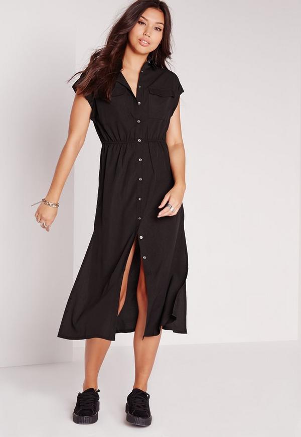 Short Sleeve Maxi Shirt Dress Black Missguided
