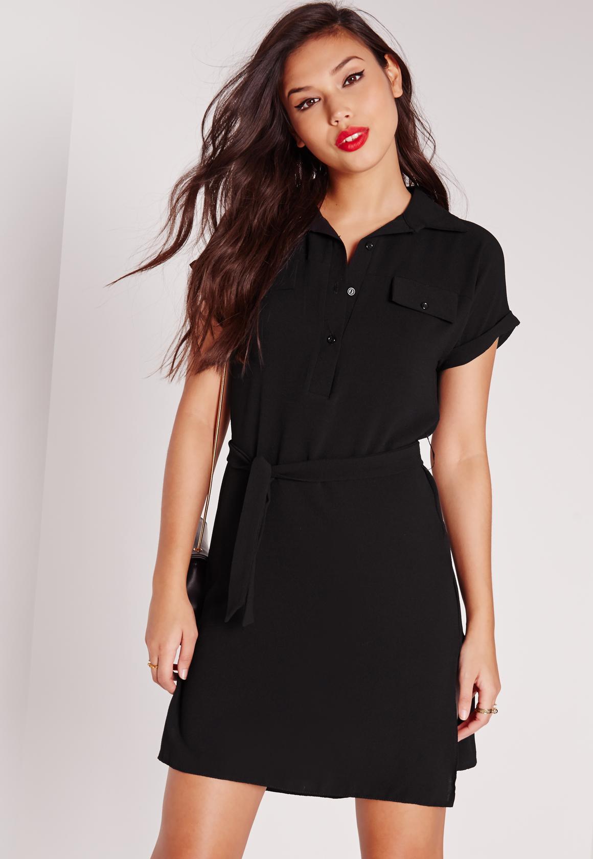a151943a82dae Tie Waist Textured Crepe Shirt Dress Black | Missguided Australia