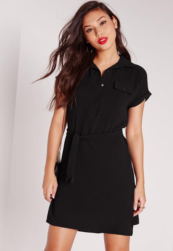 Tie Waist Textured Crepe Shirt Dress Black