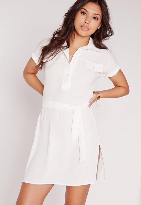 Tie Waist Textured Crepe Shirt Dress White