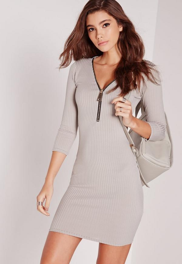 Zip Front Ribbed Bodycon Dress Grey