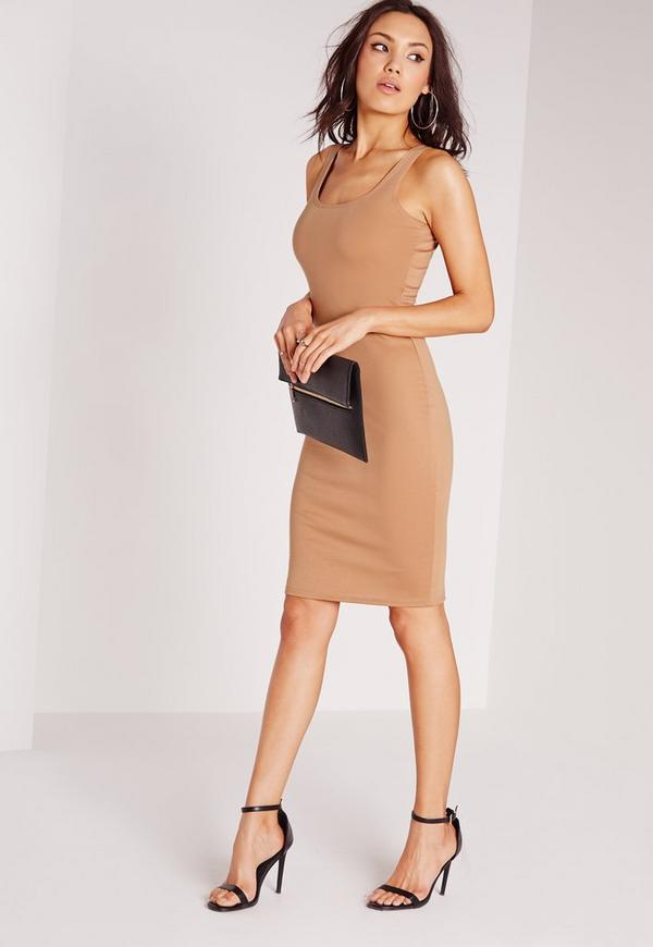 Square Neck Ponte Neck Dress Nude