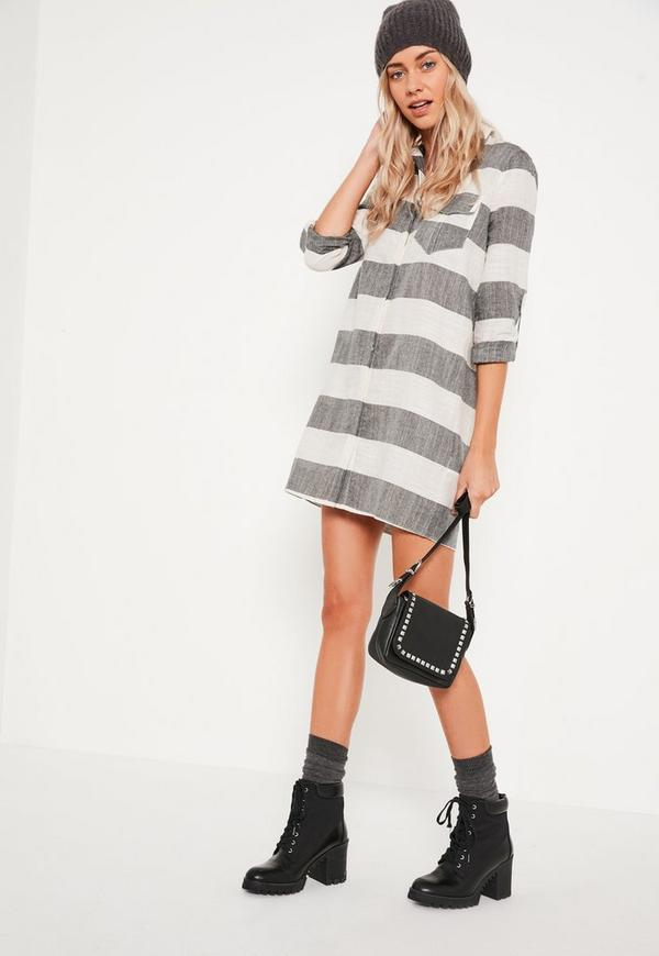 Grey Check Shirt Dress