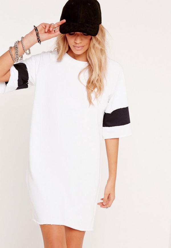 Stripe Sleeve Jumper Dress White