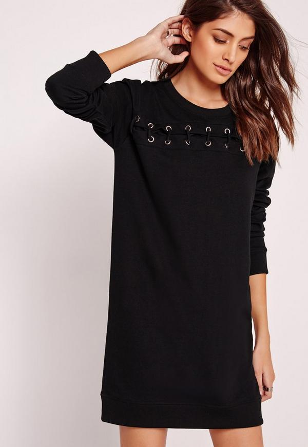 Lace Up Front Jumper Dress Black