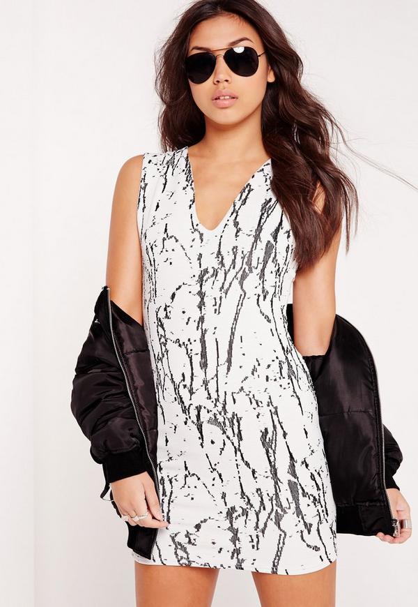 Plunge Bodycon Dress White Marble Print