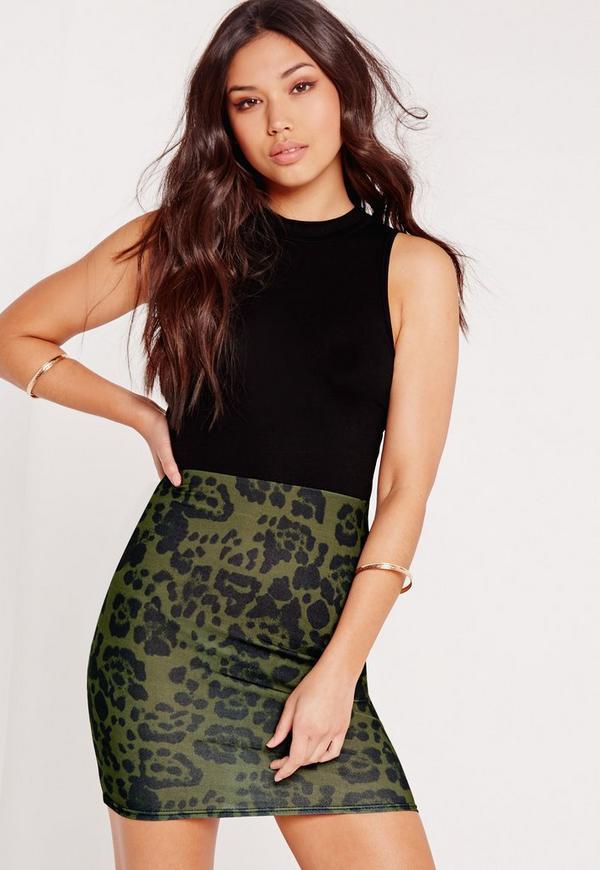 Contrast Leopard Print Bodycon Dress Khaki
