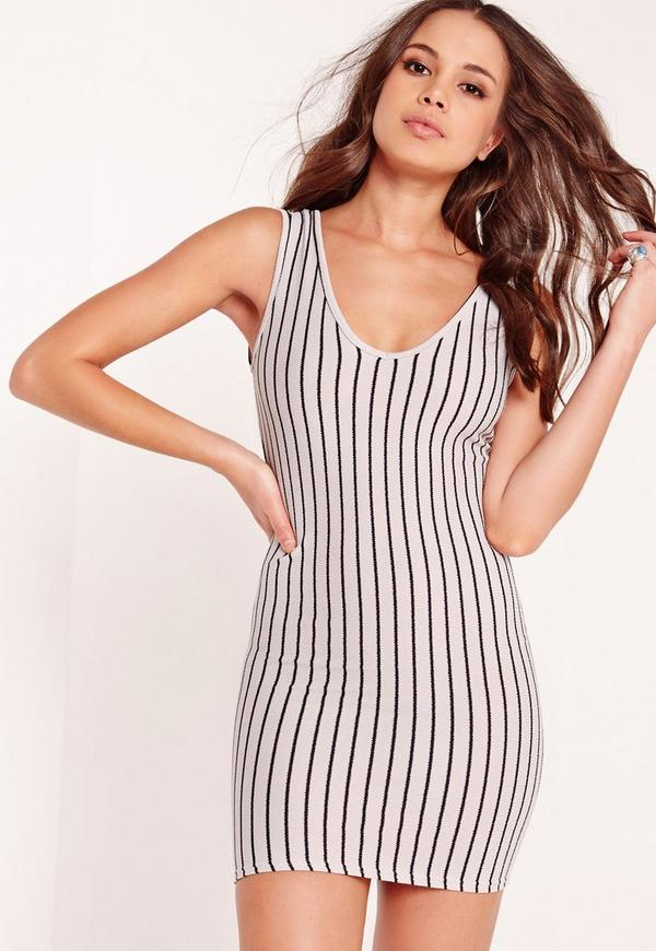 Striped V-Neck Bodycon Dress Grey