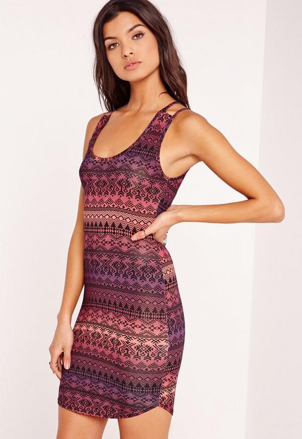 Aztec Double Strap Curve Hem Bodycon Dress Purple