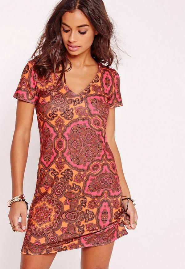V-Neck A-Line Shift Dress Orange Print