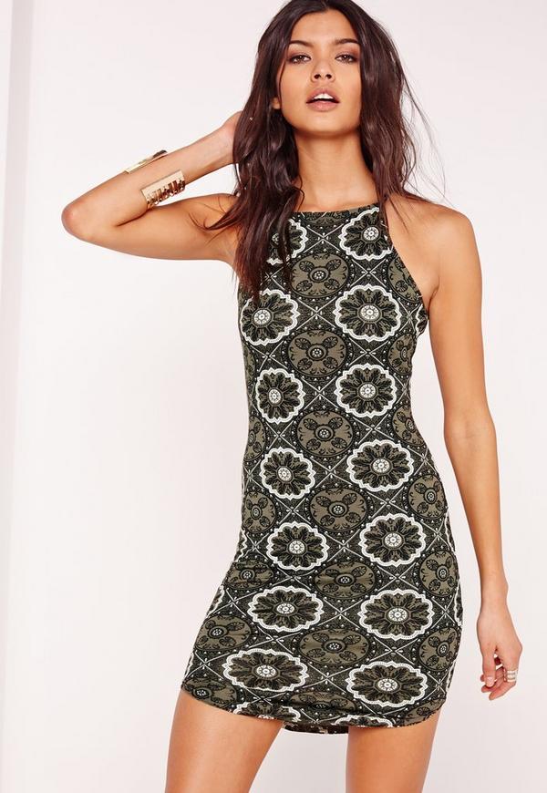 Tile Print Strappy Curve Hem Bodycon Dress Khaki