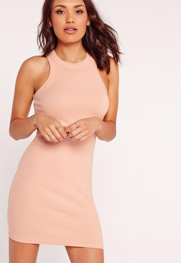 Racer Back Ribbed Mini Dress Pink