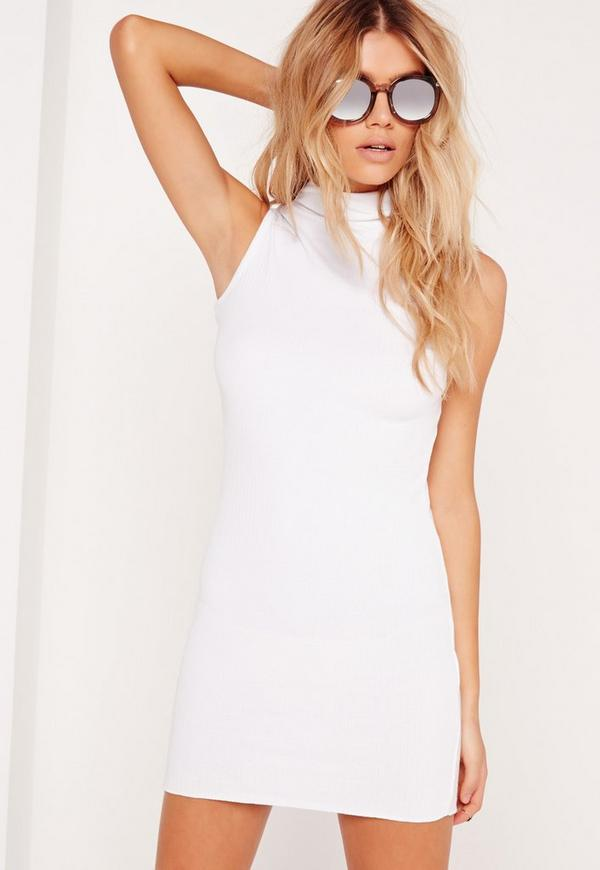 High Neck Ribbed Dress White