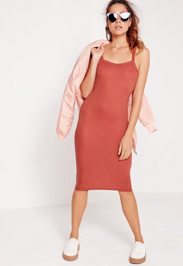 Strappy Ribbed Midi Dress Pink