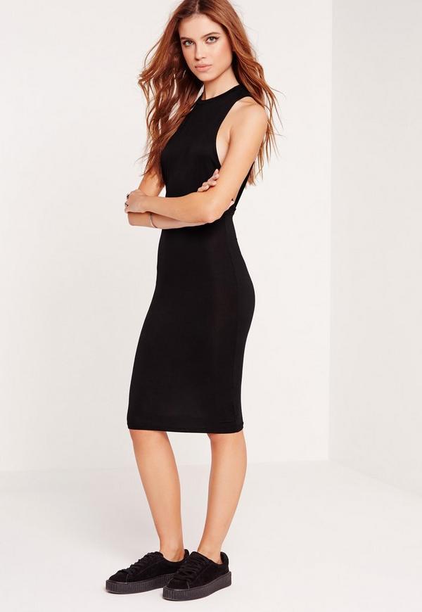 Low Armhole Midi Dress Black