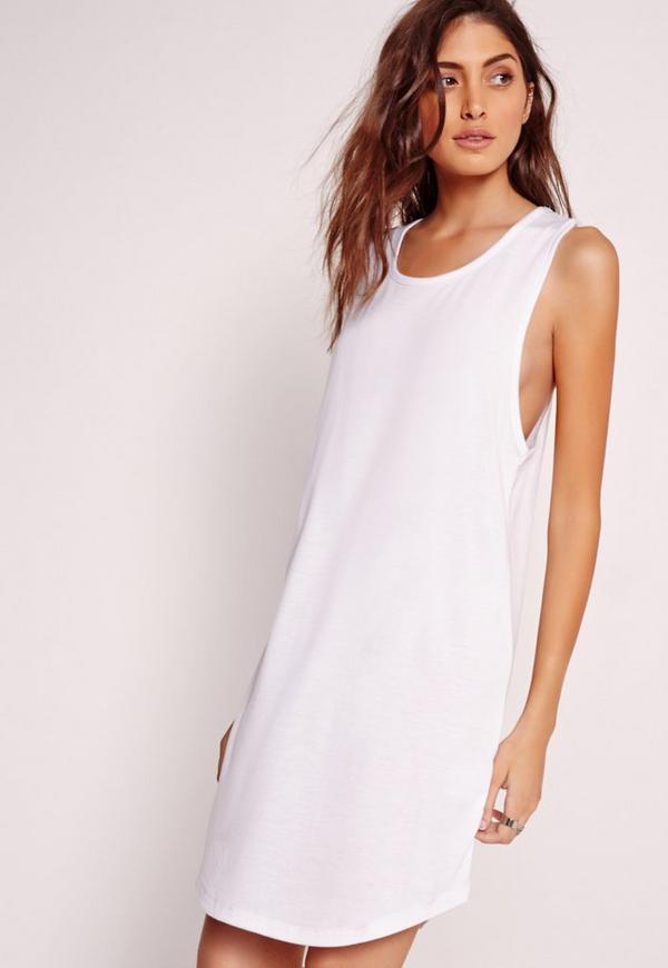 Curve Hem Shift Dress White