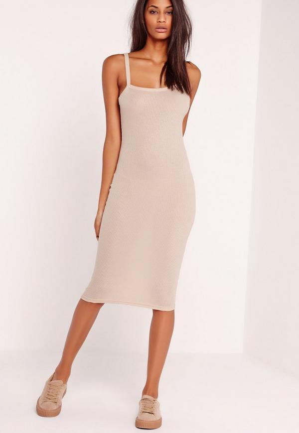 Strappy Ribbed Midi Dress Nude