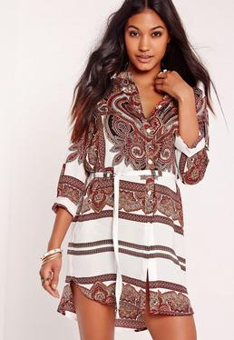 Paisley Print Shirt Dress Multi