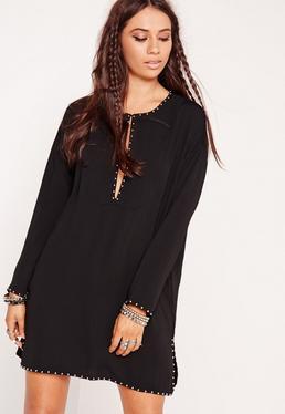 Studded Shift Dress Black