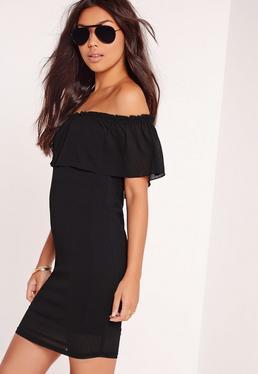 Bardot Frill Dress Black