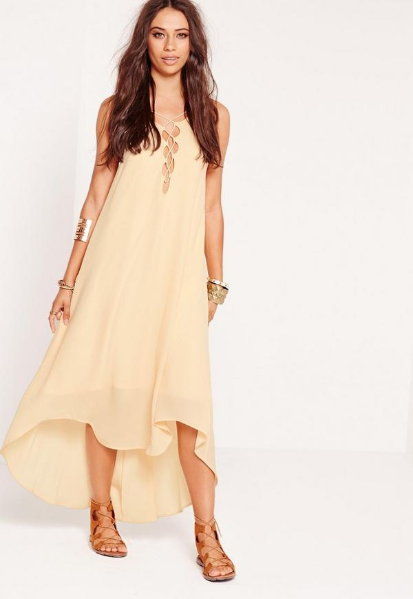 Tie Up Front Maxi Dress Nude