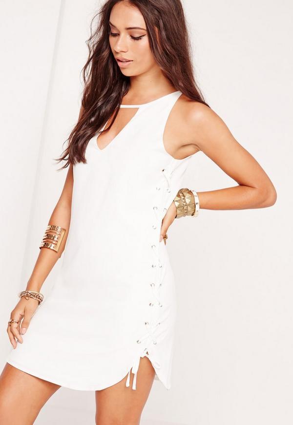 Lattice Side Swing Dress White Missguided