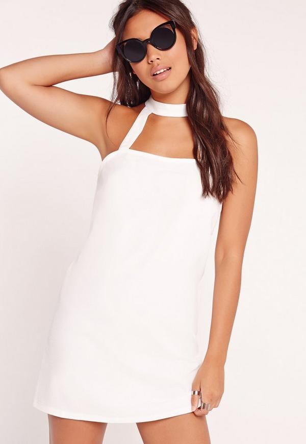Choker Neck Dress White