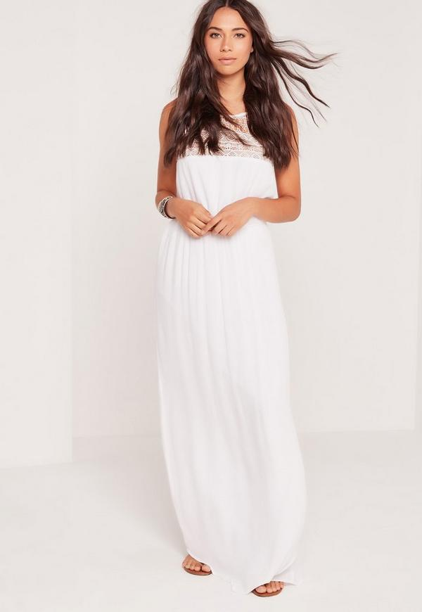 Cheesecloth Embroidered Maxi Dress White