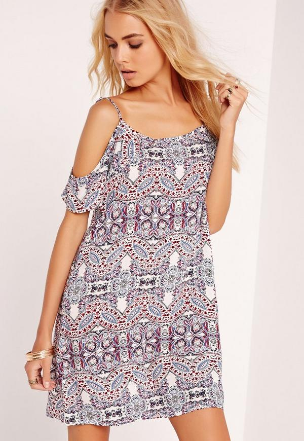 Printed Cold Shoulder Swing Dress Multi