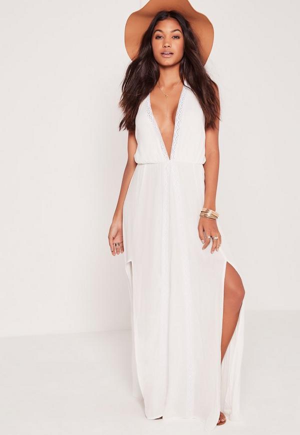 Plunge Tie Neck Maxi Dress White