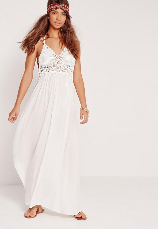 Crochet Detail Maxi Dress White